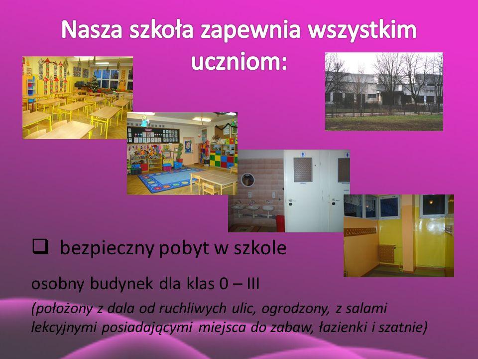  bezpieczny pobyt w szkole osobny budynek dla klas 0 – III (położony z dala od ruchliwych ulic, ogrodzony, z salami lekcyjnymi posiadającymi miejsca