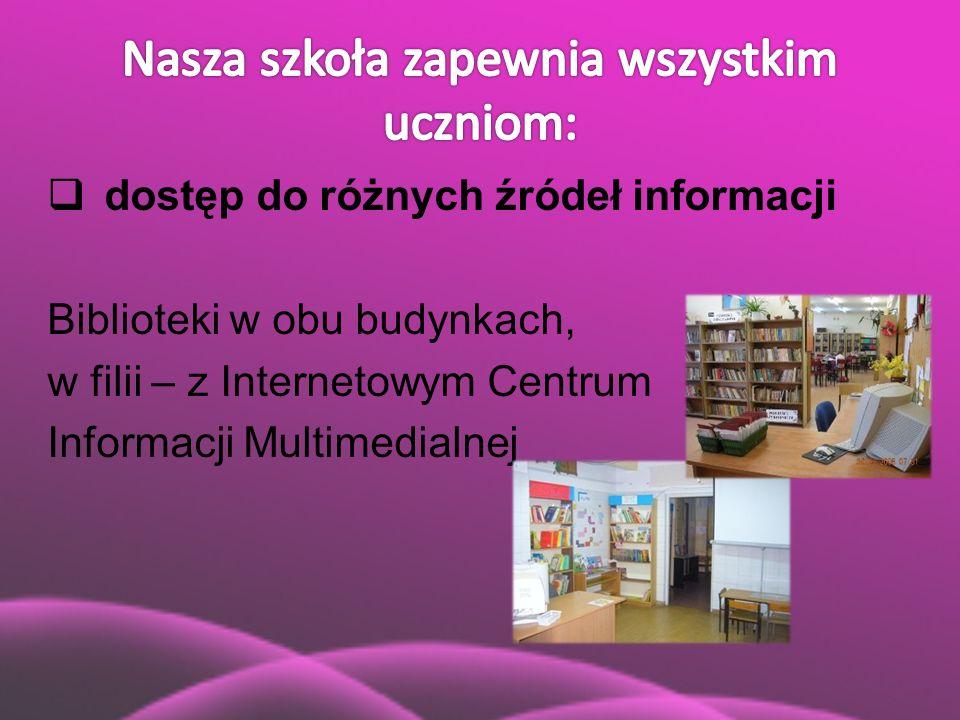  dostęp do różnych źródeł informacji Biblioteki w obu budynkach, w filii – z Internetowym Centrum Informacji Multimedialnej