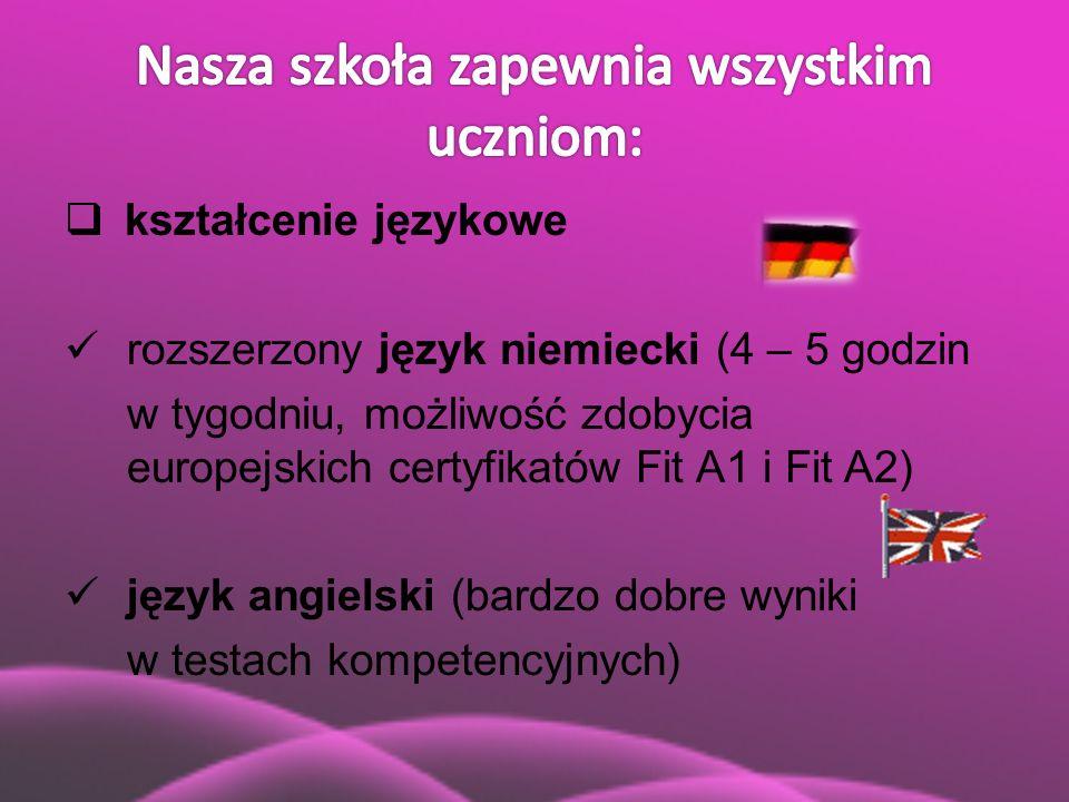  kształcenie językowe rozszerzony język niemiecki (4 – 5 godzin w tygodniu, możliwość zdobycia europejskich certyfikatów Fit A1 i Fit A2) język angie