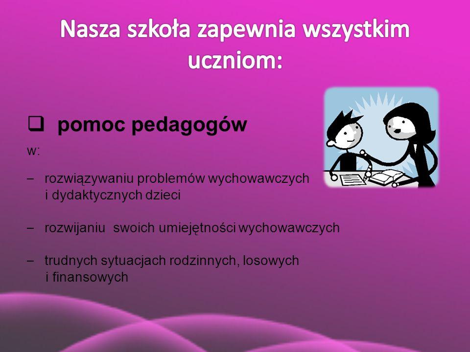  pomoc pedagogów w: – rozwiązywaniu problemów wychowawczych i dydaktycznych dzieci – rozwijaniu swoich umiejętności wychowawczych – trudnych sytuacja