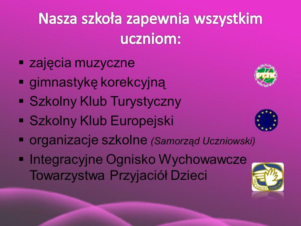  zajęcia muzyczne  gimnastykę korekcyjną  Szkolny Klub Turystyczny  Szkolny Klub Europejski  organizacje szkolne (Samorząd Uczniowski)  Integrac