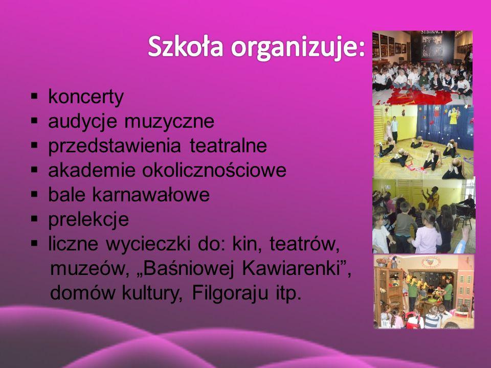  koncerty  audycje muzyczne  przedstawienia teatralne  akademie okolicznościowe  bale karnawałowe  prelekcje  liczne wycieczki do: kin, teatrów