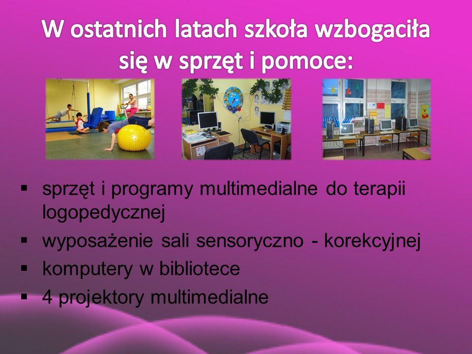  sprzęt i programy multimedialne do terapii logopedycznej  wyposażenie sali sensoryczno - korekcyjnej  komputery w bibliotece  4 projektory multim