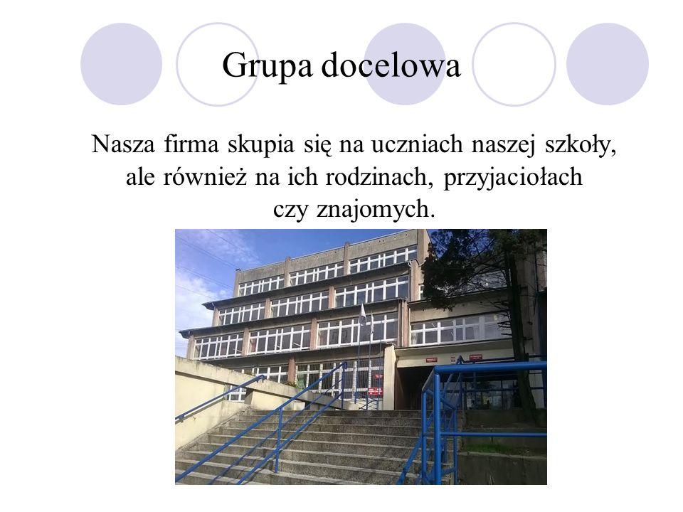 Grupa docelowa Nasza firma skupia się na uczniach naszej szkoły, ale również na ich rodzinach, przyjaciołach czy znajomych.