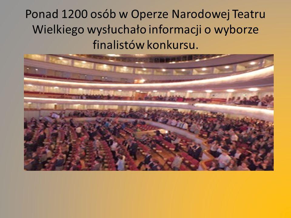 Ponad 1200 osób w Operze Narodowej Teatru Wielkiego wysłuchało informacji o wyborze finalistów konkursu.