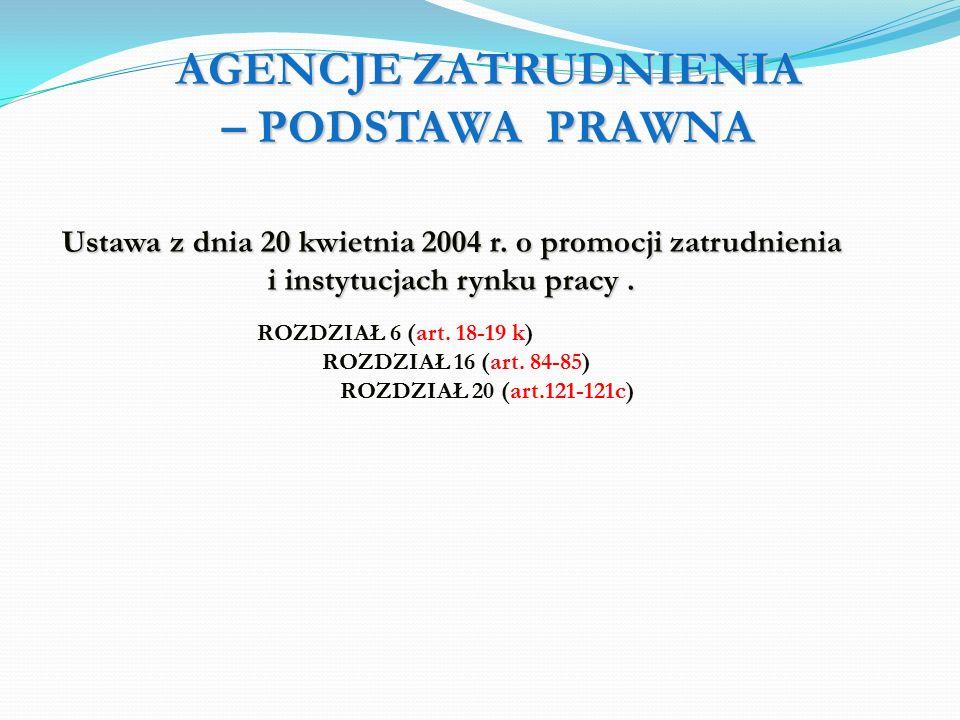AGENCJE ZATRUDNIENIA – PODSTAWA PRAWNA Ustawa z dnia 20 kwietnia 2004 r.