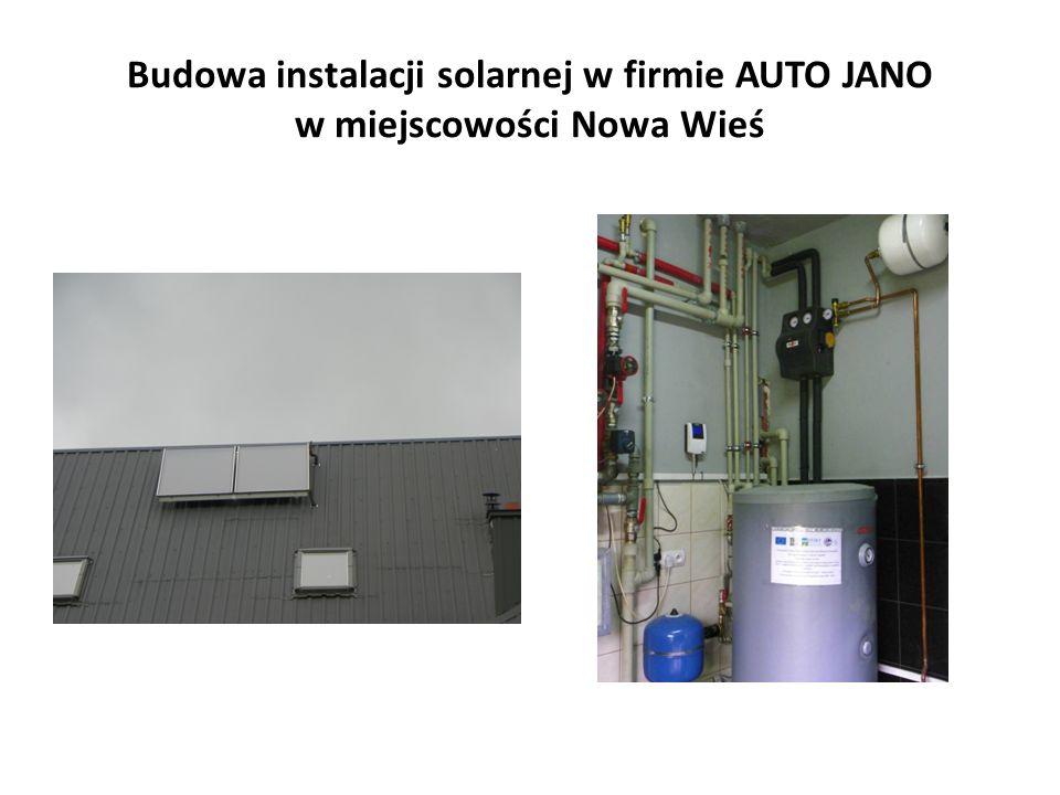 Budowa instalacji solarnej w firmie AUTO JANO w miejscowości Nowa Wieś