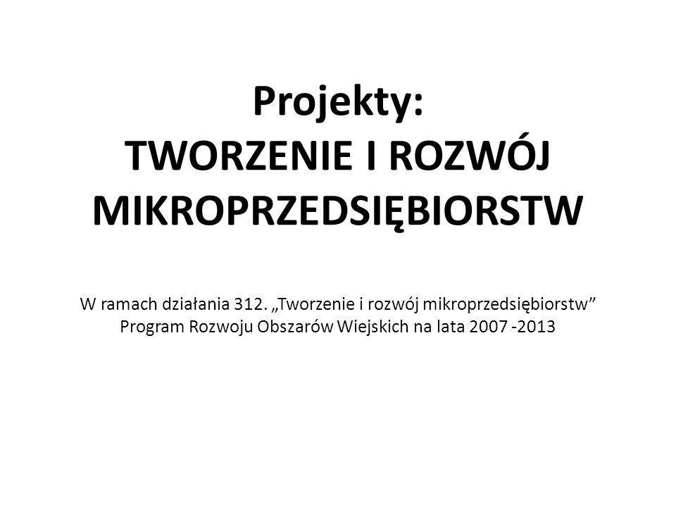 """Projekty: TWORZENIE I ROZWÓJ MIKROPRZEDSIĘBIORSTW W ramach działania 312. """"Tworzenie i rozwój mikroprzedsiębiorstw"""" Program Rozwoju Obszarów Wiejskich"""