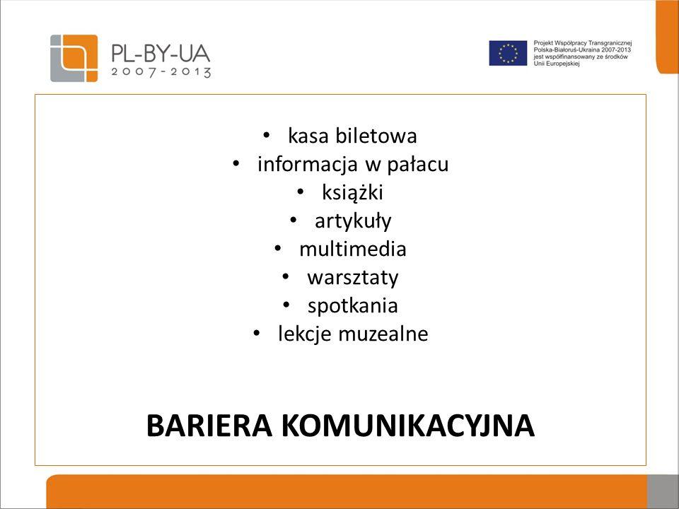 kasa biletowa informacja w pałacu książki artykuły multimedia warsztaty spotkania lekcje muzealne BARIERA KOMUNIKACYJNA