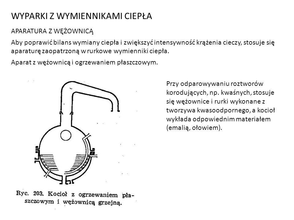 WYPARKI Z WYMIENNIKAMI CIEPŁA APARATURA Z WĘŻOWNICĄ Aby poprawić bilans wymiany ciepła i zwiększyć intensywność krążenia cieczy, stosuje się aparaturę zaopatrzoną w rurkowe wymienniki ciepła.