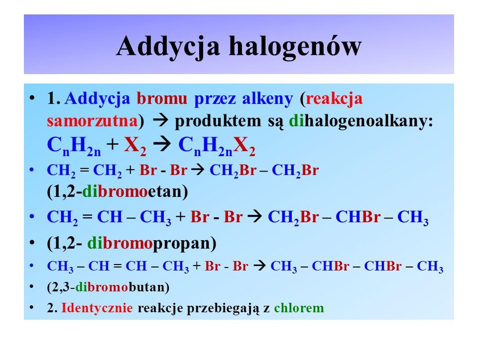 Addycja wodoru Addycja wodoru przebiega w obecności katalizatora: Ni, Pd, Pt (reakcja wymuszona)  produktem jest zawsze alkan (węglowodór nasycony): C n H 2n + H 2  C n H 2n+2 CH 2 = CH 2 + H 2  CH 3 – CH 3 ; etan CH 2 = CH – CH 3 + H 2  CH 3 – CH 2 – CH 3 ; propan CH 3 – CH = CH – CH 3 + H 2  CH 3 – CH 2 – CH 2 – CH 3 butan