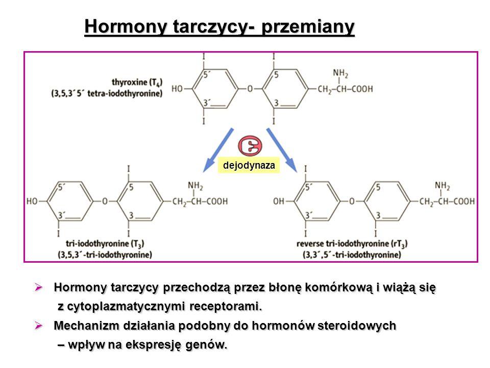 Hormony tarczycy- przemiany dejodynaza  Hormony tarczycy przechodzą przez błonę komórkową i wiążą się z cytoplazmatycznymi receptorami. z cytoplazmat