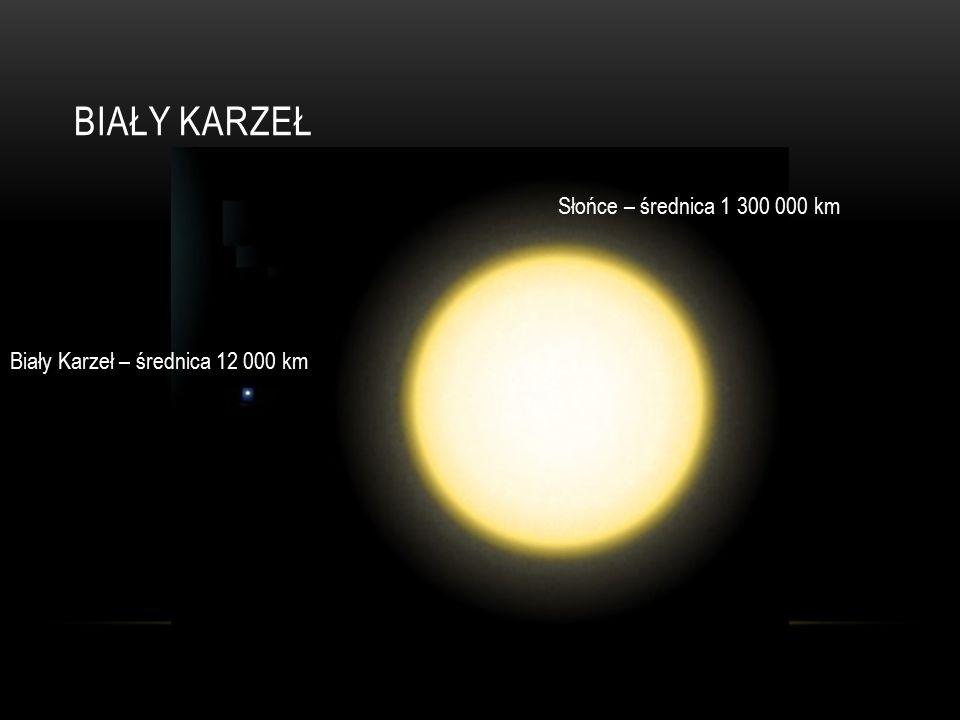 BIAŁY KARZEŁ Słońce – średnica 1 300 000 km Biały Karzeł – średnica 12 000 km