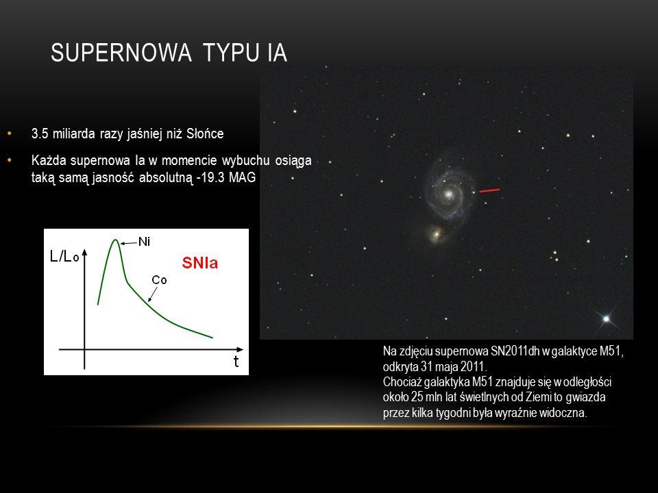 SUPERNOWA TYPU IA Na zdjęciu supernowa SN2011dh w galaktyce M51, odkryta 31 maja 2011.