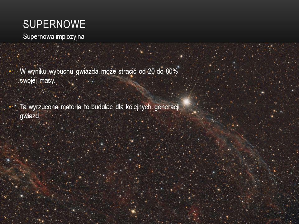 SUPERNOWE W wyniku wybuchu gwiazda może stracić od 20 do 80% swojej masy.
