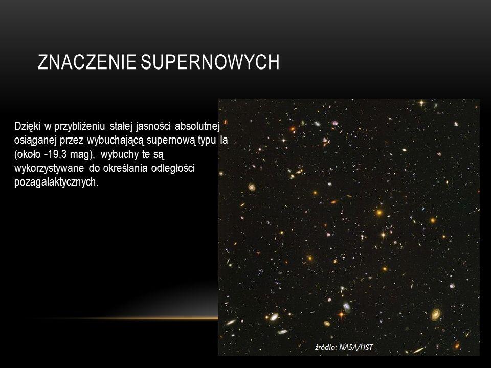 ZNACZENIE SUPERNOWYCH Dzięki w przybliżeniu stałej jasności absolutnej osiąganej przez wybuchającą supernową typu Ia (około -19,3 mag), wybuchy te są wykorzystywane do określania odległości pozagalaktycznych.