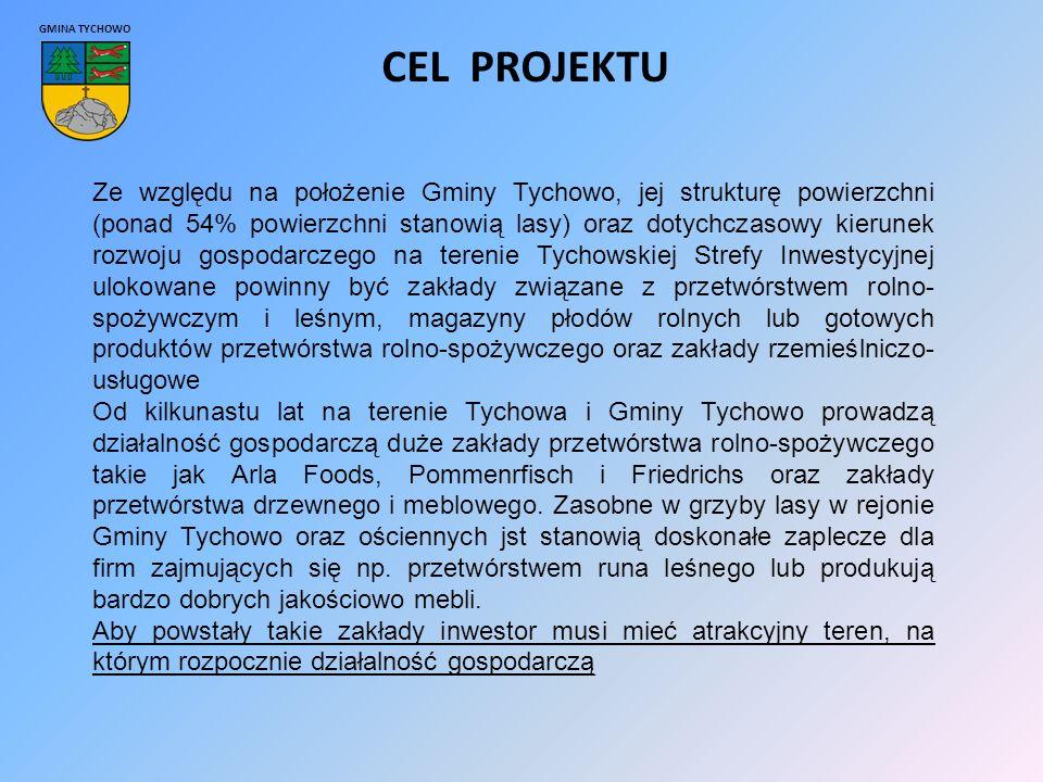 GMINA TYCHOWO CEL PROJEKTU Ze względu na położenie Gminy Tychowo, jej strukturę powierzchni (ponad 54% powierzchni stanowią lasy) oraz dotychczasowy kierunek rozwoju gospodarczego na terenie Tychowskiej Strefy Inwestycyjnej ulokowane powinny być zakłady związane z przetwórstwem rolno- spożywczym i leśnym, magazyny płodów rolnych lub gotowych produktów przetwórstwa rolno-spożywczego oraz zakłady rzemieślniczo- usługowe Od kilkunastu lat na terenie Tychowa i Gminy Tychowo prowadzą działalność gospodarczą duże zakłady przetwórstwa rolno-spożywczego takie jak Arla Foods, Pommenrfisch i Friedrichs oraz zakłady przetwórstwa drzewnego i meblowego.