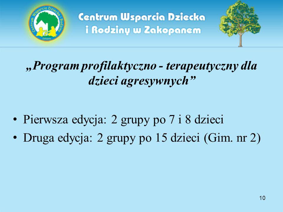"""10 """"Program profilaktyczno - terapeutyczny dla dzieci agresywnych"""" Pierwsza edycja: 2 grupy po 7 i 8 dzieci Druga edycja: 2 grupy po 15 dzieci (Gim. n"""