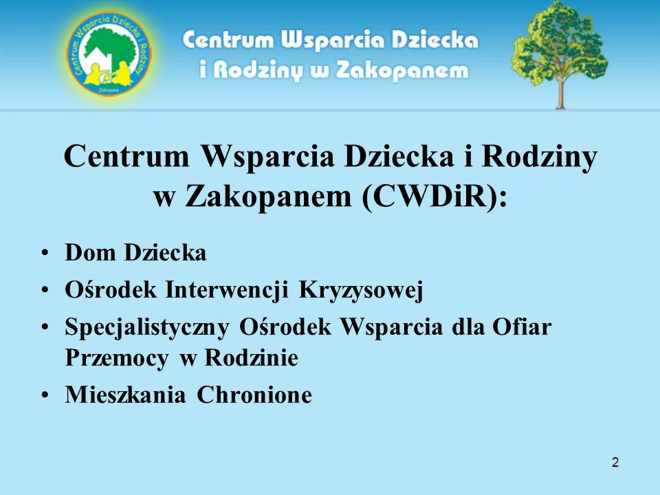 2 Centrum Wsparcia Dziecka i Rodziny w Zakopanem (CWDiR): Dom Dziecka Ośrodek Interwencji Kryzysowej Specjalistyczny Ośrodek Wsparcia dla Ofiar Przemo