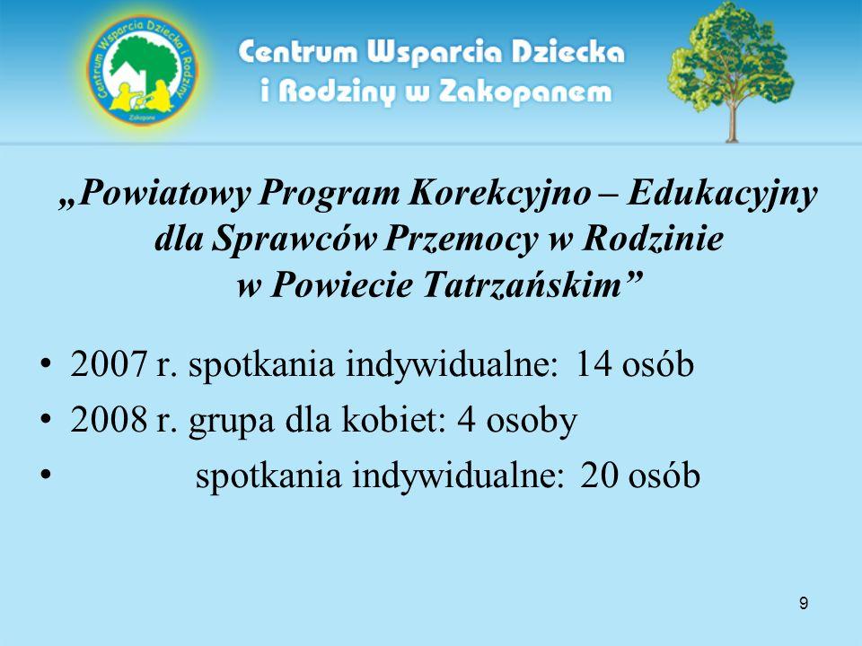 """9 """"Powiatowy Program Korekcyjno – Edukacyjny dla Sprawców Przemocy w Rodzinie w Powiecie Tatrzańskim 2007 r."""