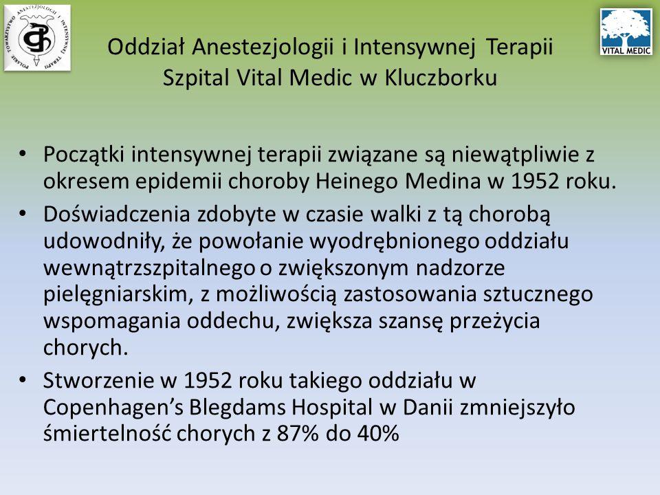 Początki intensywnej terapii związane są niewątpliwie z okresem epidemii choroby Heinego Medina w 1952 roku.