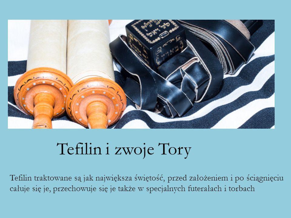 Tefilin i zwoje Tory Tefilin traktowane są jak największa świętość, przed założeniem i po ściągnięciu całuje się je, przechowuje się je także w specja