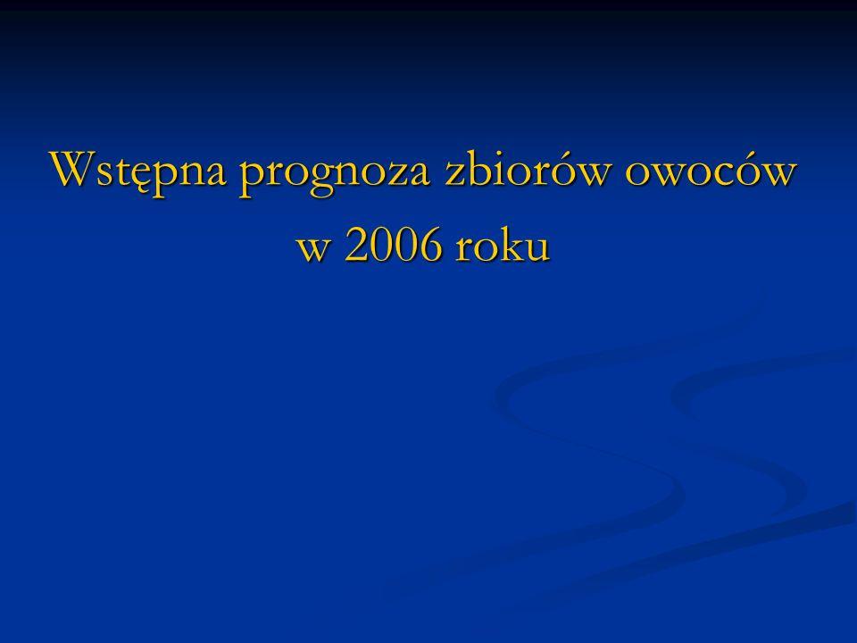 Wstępna prognoza zbiorów owoców w 2006 roku