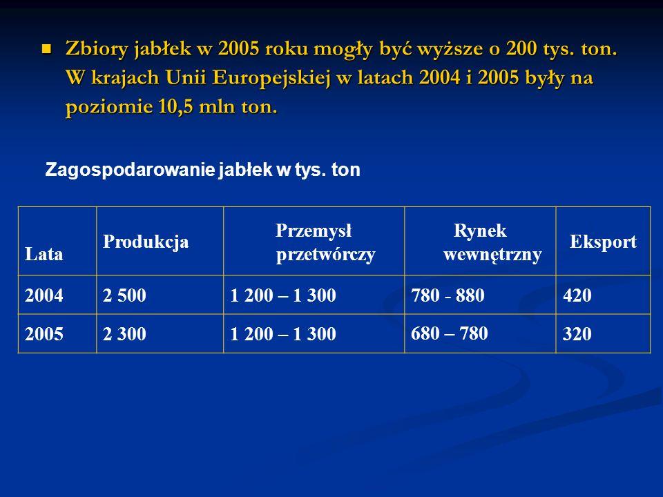Zbiory jabłek w 2005 roku mogły być wyższe o 200 tys.