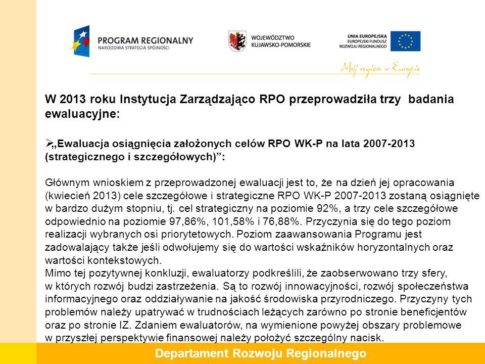 """W 2013 roku Instytucja Zarządzająco RPO przeprowadziła trzy badania ewaluacyjne:  """" Ewaluacja osiągnięcia założonych celów RPO WK-P na lata 2007-2013 (strategicznego i szczegółowych) : Głównym wnioskiem z przeprowadzonej ewaluacji jest to, że na dzień jej opracowania (kwiecień 2013) cele szczegółowe i strategiczne RPO WK-P 2007-2013 zostaną osiągnięte w bardzo dużym stopniu, tj."""