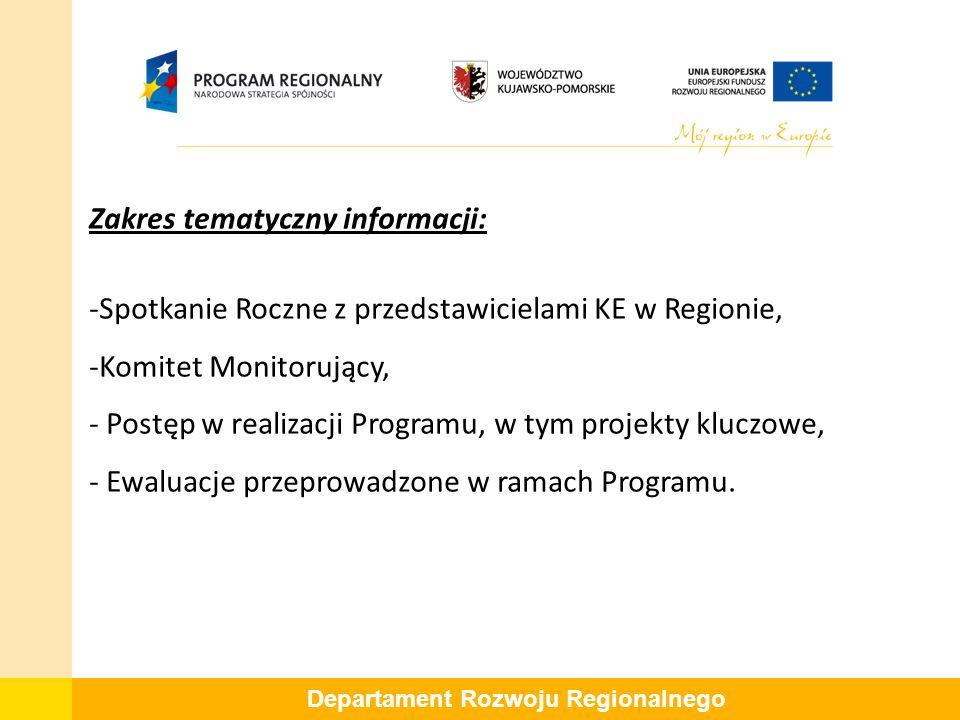 Zakres tematyczny informacji: -Spotkanie Roczne z przedstawicielami KE w Regionie, -Komitet Monitorujący, - Postęp w realizacji Programu, w tym projekty kluczowe, - Ewaluacje przeprowadzone w ramach Programu.
