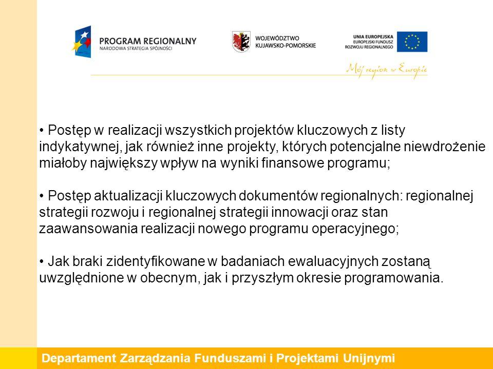 Departament Zarządzania Funduszami i Projektami Unijnymi Postęp w realizacji wszystkich projektów kluczowych z listy indykatywnej, jak również inne projekty, których potencjalne niewdrożenie miałoby największy wpływ na wyniki finansowe programu; Postęp aktualizacji kluczowych dokumentów regionalnych: regionalnej strategii rozwoju i regionalnej strategii innowacji oraz stan zaawansowania realizacji nowego programu operacyjnego; Jak braki zidentyfikowane w badaniach ewaluacyjnych zostaną uwzględnione w obecnym, jak i przyszłym okresie programowania.