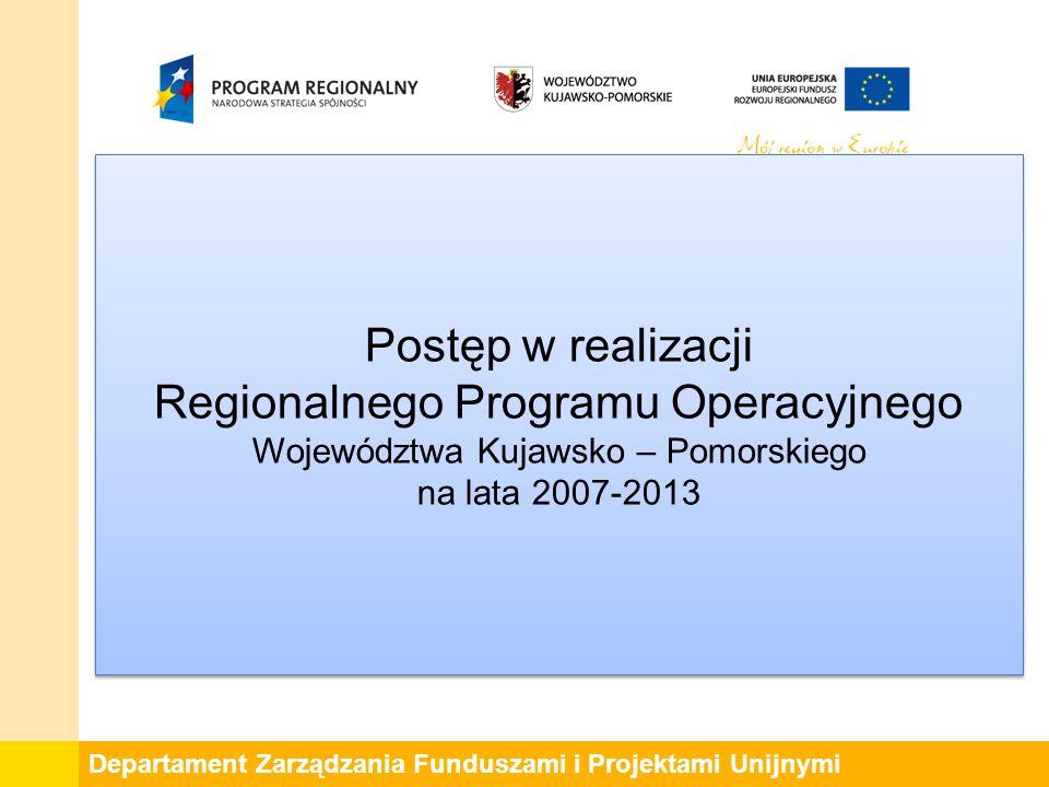 Departament Zarządzania Funduszami i Projektami Unijnymi Postęp w realizacji Regionalnego Programu Operacyjnego Województwa Kujawsko – Pomorskiego na lata 2007-2013