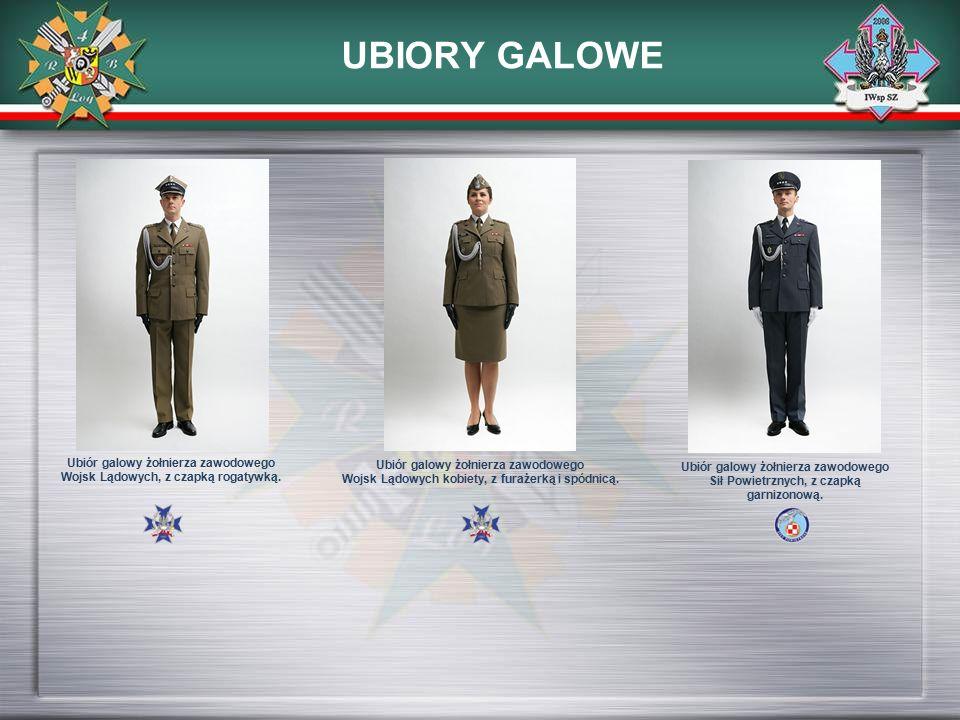 UBIORY GALOWE Ubiór galowy żołnierza zawodowego Wojsk Lądowych, z czapką rogatywką. Ubiór galowy żołnierza zawodowego Wojsk Lądowych kobiety, z furaże