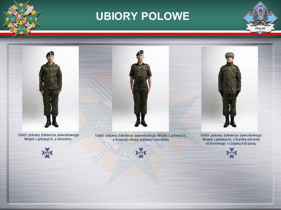 UBIORY POLOWE Ubiór polowy żołnierza zawodowego Wojsk Lądowych, z beretem. Ubiór polowy żołnierza zawodowego Wojsk Lądowych, z koszulo-bluzą polową i