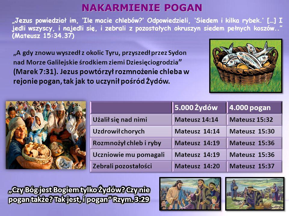 """""""Jezus powiedział im, 'Ile macie chlebów ' Odpowiedzieli, 'Siedem i kilka rybek.' […] I jedli wszyscy, i najedli się, i zebrali z pozostałych okruszyn siedem pełnych koszów.. (Mateusz 15:34.37) """"A gdy znowu wyszedł z okolic Tyru, przyszedł przez Sydon nad Morze Galilejskie środkiem ziemi Dziesięciogrodzia (Marek 7:31)."""
