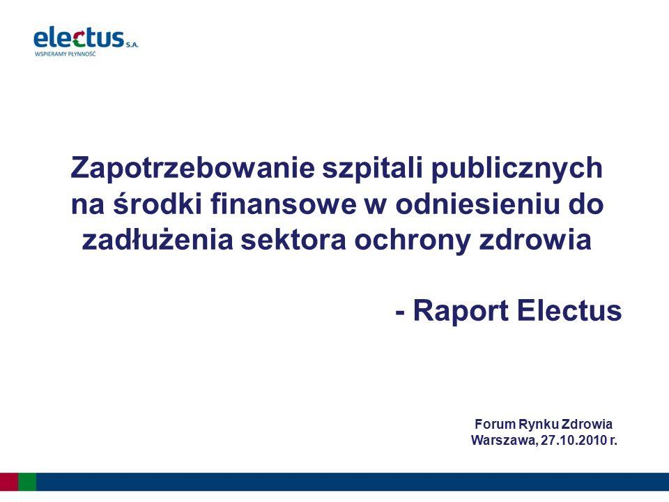 Zapotrzebowanie szpitali publicznych na środki finansowe w odniesieniu do zadłużenia sektora ochrony zdrowia - Raport Electus Forum Rynku Zdrowia Wars