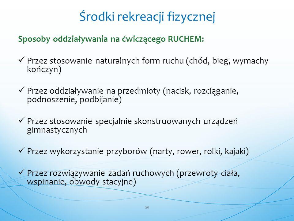 Sposoby oddziaływania na ćwiczącego RUCHEM: Przez stosowanie naturalnych form ruchu (chód, bieg, wymachy kończyn) Przez oddziaływanie na przedmioty (n