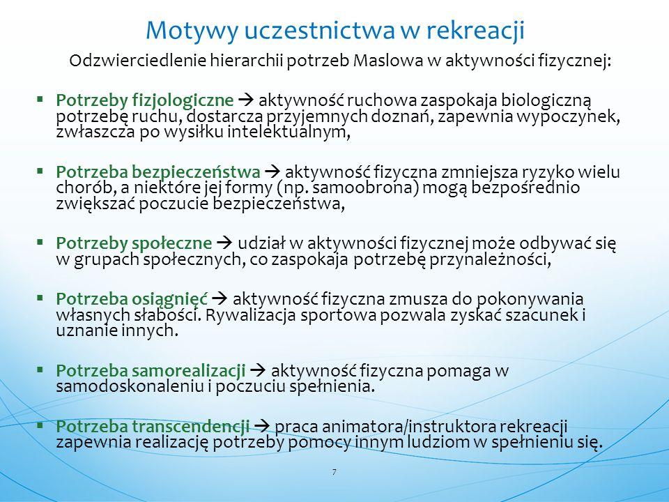Odzwierciedlenie hierarchii potrzeb Maslowa w aktywności fizycznej:  Potrzeby fizjologiczne  aktywność ruchowa zaspokaja biologiczną potrzebę ruchu, dostarcza przyjemnych doznań, zapewnia wypoczynek, zwłaszcza po wysiłku intelektualnym,  Potrzeba bezpieczeństwa  aktywność fizyczna zmniejsza ryzyko wielu chorób, a niektóre jej formy (np.