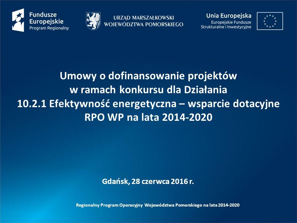 Regionalny Program Operacyjny Województwa Pomorskiego na lata 2014-2020 Gdańsk, 28 czerwca 2016 r. Umowy o dofinansowanie projektów w ramach konkursu