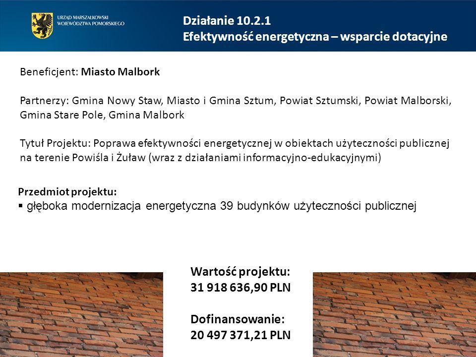 Działanie 10.2.1 Efektywność energetyczna – wsparcie dotacyjne Beneficjent: Miasto Malbork Partnerzy: Gmina Nowy Staw, Miasto i Gmina Sztum, Powiat Sz