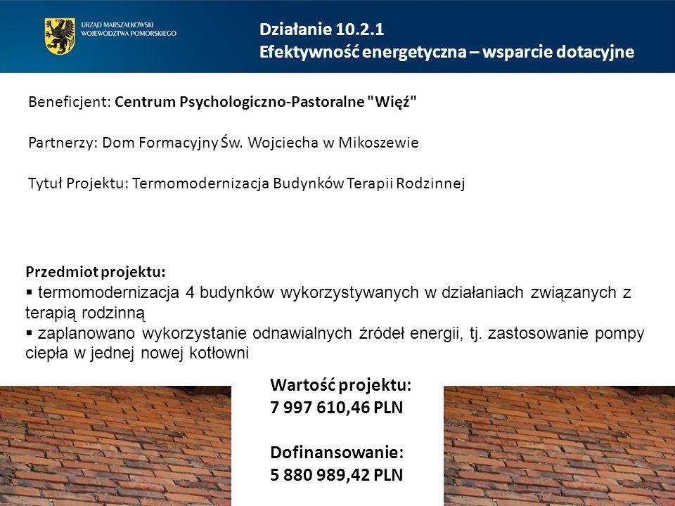 Działanie 10.2.1 Efektywność energetyczna – wsparcie dotacyjne Beneficjent: Centrum Psychologiczno-Pastoralne Więź Partnerzy: Dom Formacyjny Św.