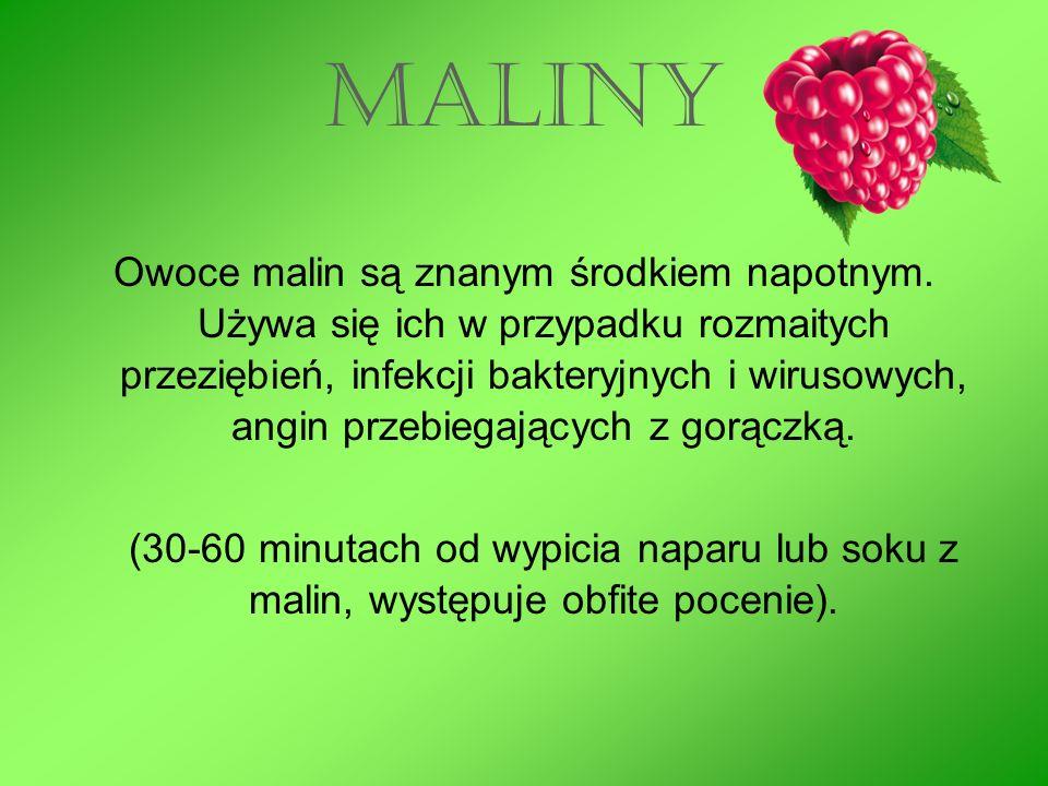 MALINY Owoce malin są znanym środkiem napotnym.