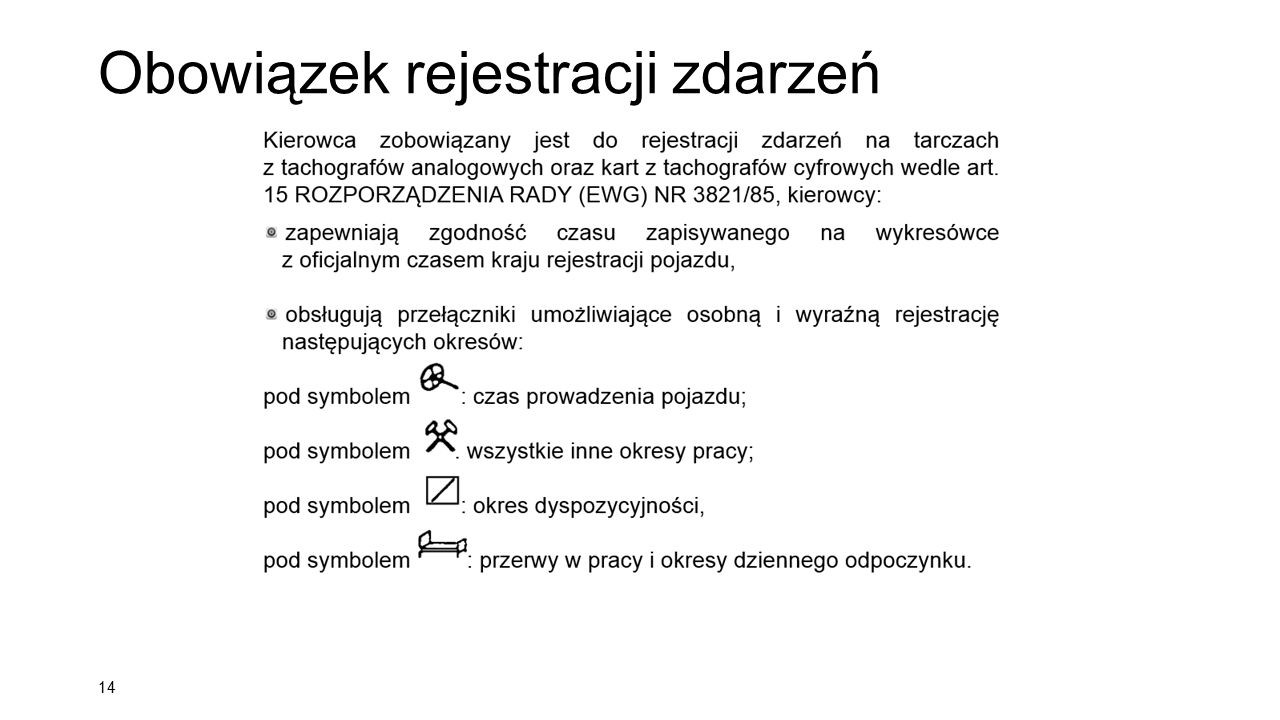 Obowiązek rejestracji zdarzeń 14