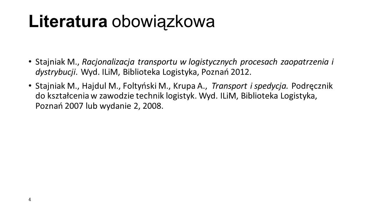 Literatura obowiązkowa Stajniak M., Racjonalizacja transportu w logistycznych procesach zaopatrzenia i dystrybucji. Wyd. ILiM, Biblioteka Logistyka, P