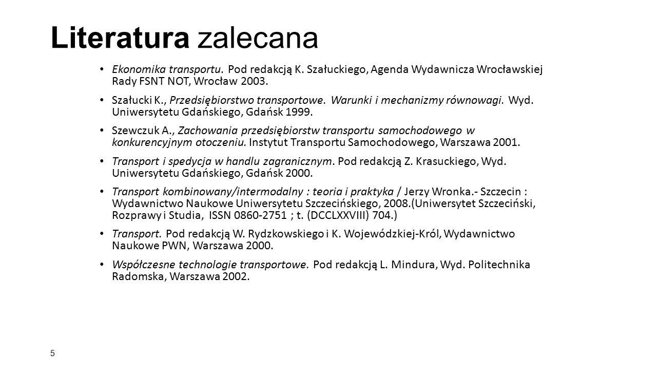 Literatura zalecana Ekonomika transportu. Pod redakcją K. Szałuckiego, Agenda Wydawnicza Wrocławskiej Rady FSNT NOT, Wrocław 2003. Szałucki K., Przeds