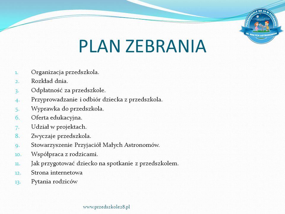 PLAN ZEBRANIA 1. Organizacja przedszkola. 2. Rozkład dnia.