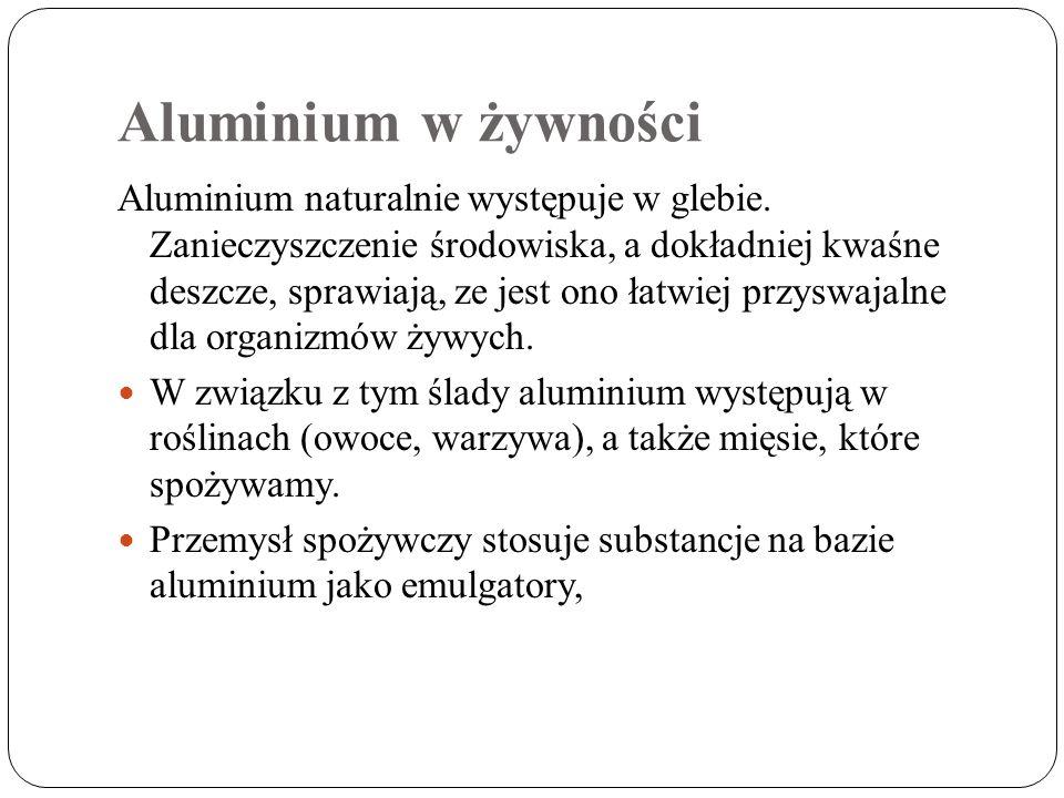 Aluminium w żywności Aluminium naturalnie występuje w glebie. Zanieczyszczenie środowiska, a dokładniej kwaśne deszcze, sprawiają, ze jest ono łatwiej