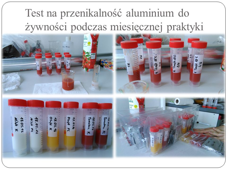 Test na przenikalność aluminium do żywności podczas miesięcznej praktyki