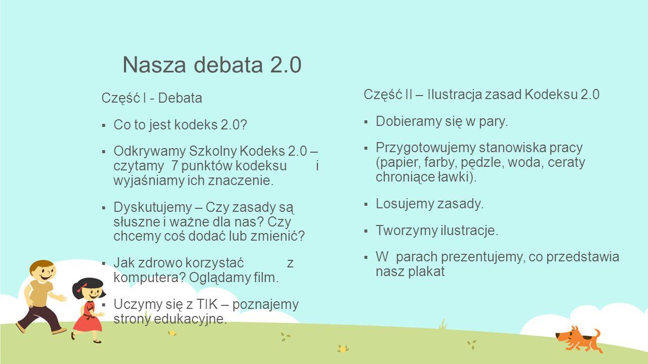 Nasza debata 2.0 Część I - Debata  Co to jest kodeks 2.0?  Odkrywamy Szkolny Kodeks 2.0 – czytamy 7 punktów kodeksu i wyjaśniamy ich znaczenie.  Dy