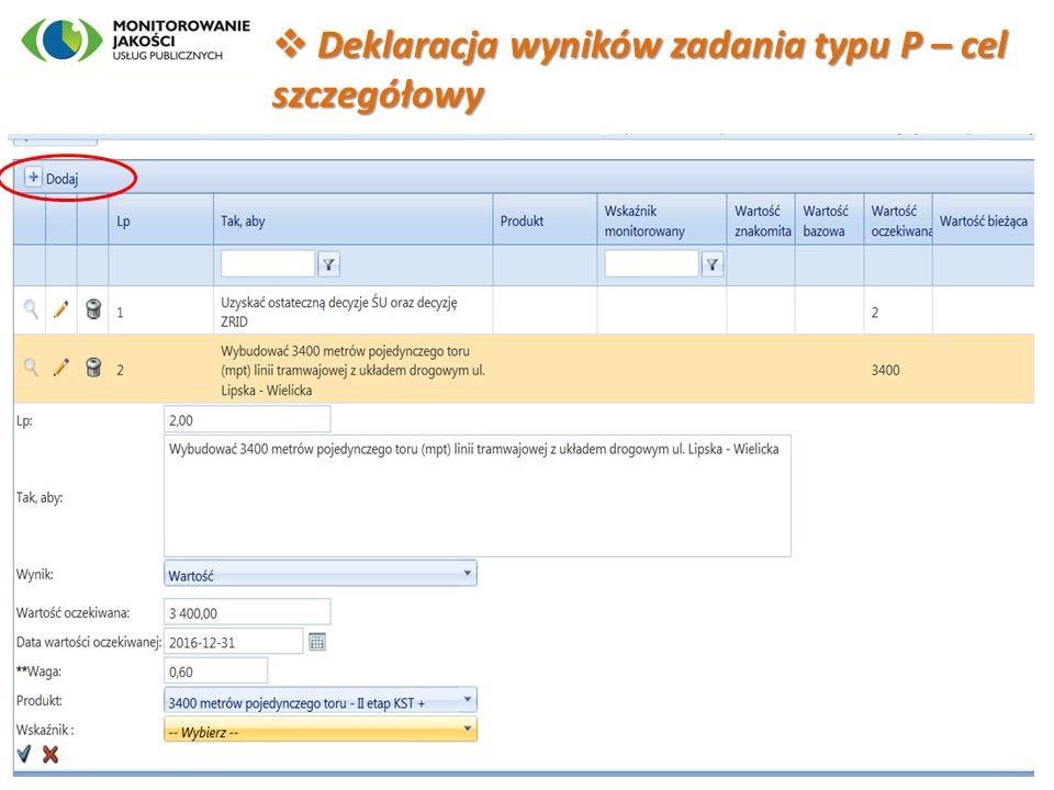  Deklaracja wyników zadania typu P – cel szczegółowy 10